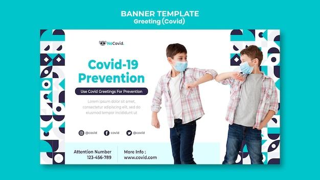 Modelo de banner de saudações do coronavirus com foto