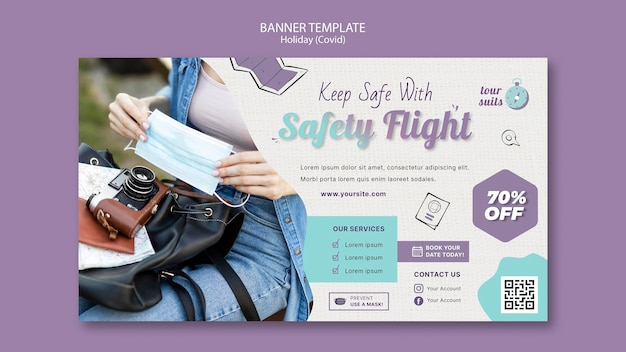 Modelo de banner de segurança e viagens