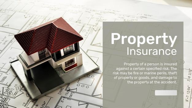 Modelo de banner de seguro de propriedade psd com texto editável