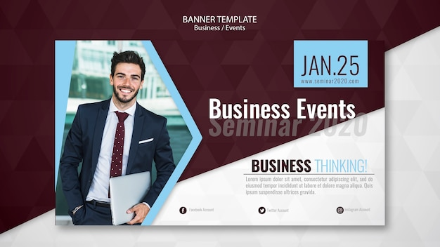 Modelo de banner de seminário de eventos de negócios
