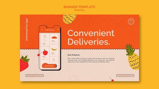 Modelo de banner de serviço de entrega de supermercado