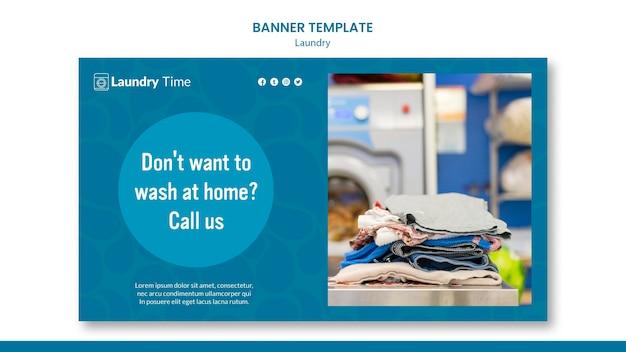 Modelo de banner de serviço de lavanderia