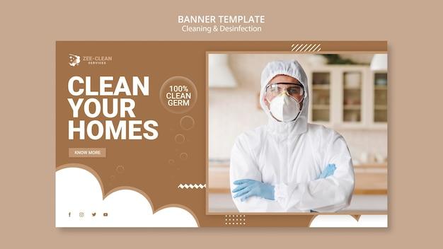 Modelo de banner de serviço de limpeza e desinfecção