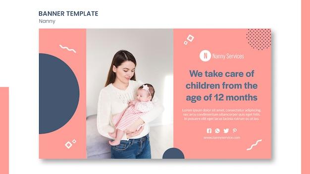 Modelo de banner de serviços de babá