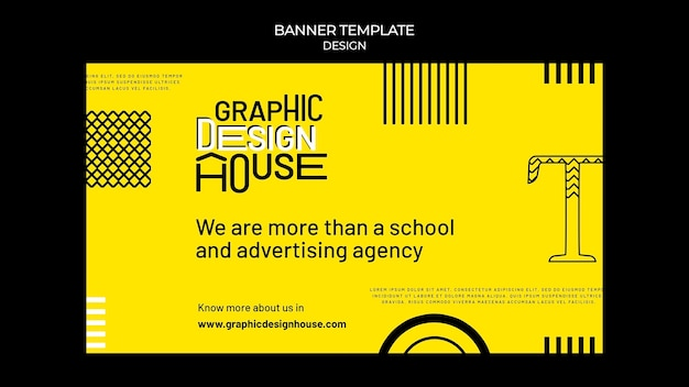 Modelo de banner de serviços de design gráfico