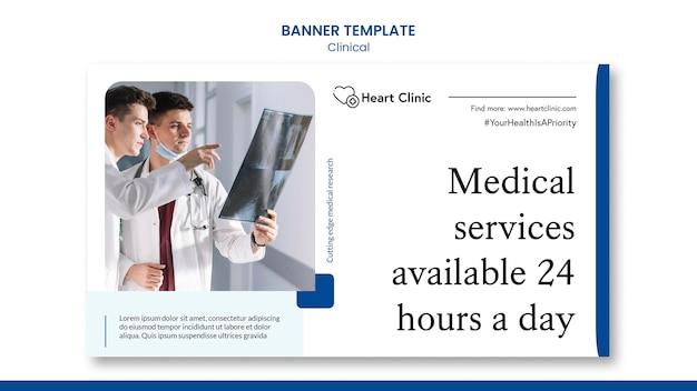 Modelo de banner de serviços médicos com foto