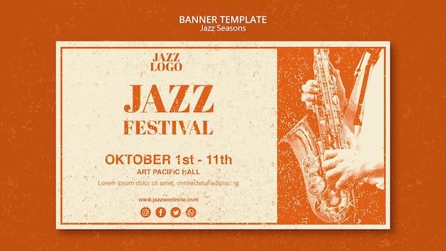 Modelo de banner de sessões de jazz