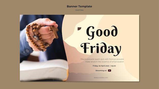 Modelo de banner de sexta-feira santa com foto