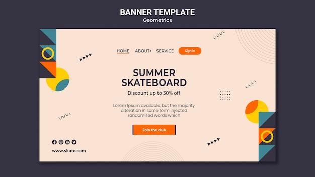 Modelo de banner de skate de verão