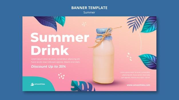 Modelo de banner de smoothie de verão