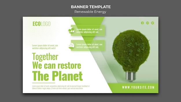 Modelo de banner de soluções de energia renovável