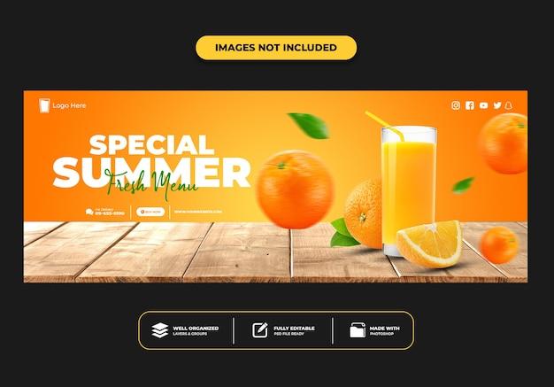 Modelo de banner de suco de postagem de capa do facebook para menu de bebidas em restaurante