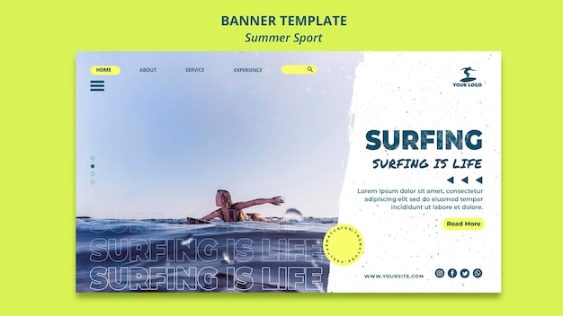 Modelo de banner de surf de verão