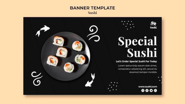 Modelo de banner de sushi com foto