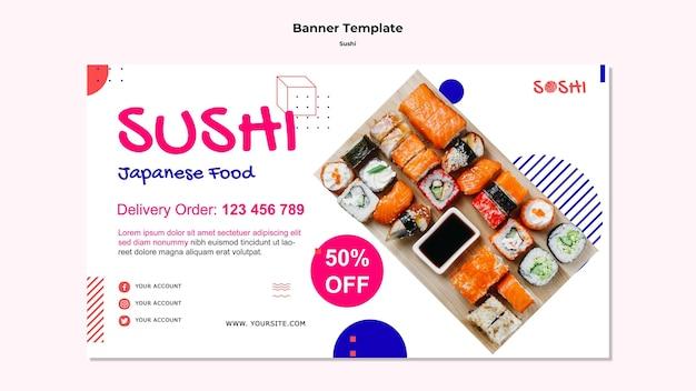 Modelo de banner de sushi