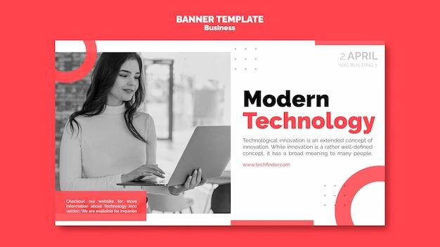 Modelo de banner de tecnologia empresarial