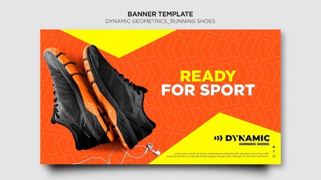 Modelo de banner de tênis de corrida