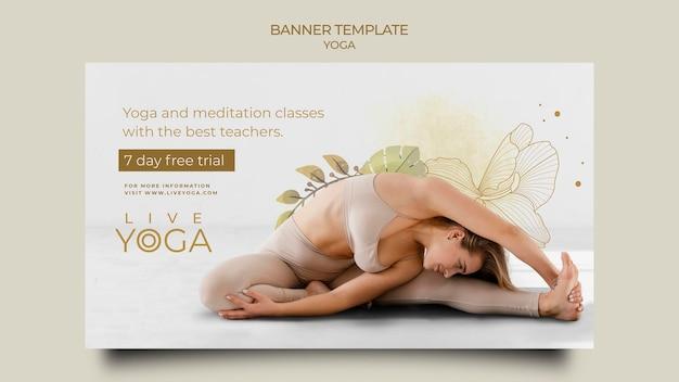 Modelo de banner de teste gratuito de ioga ao vivo
