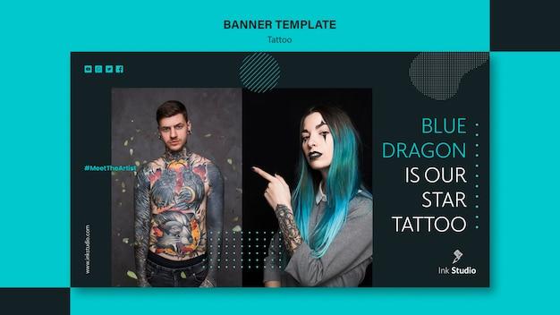 Modelo de banner de tinta de tatuagem profissional