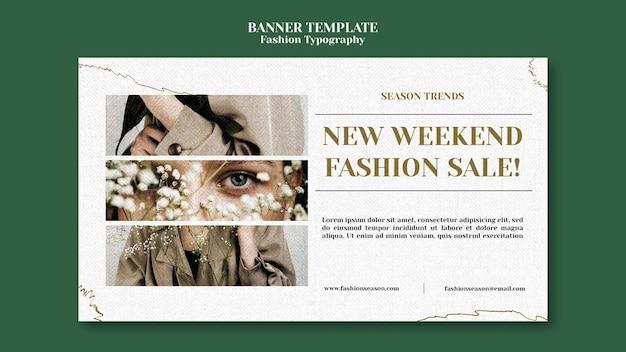 Modelo de banner de tipografia de moda