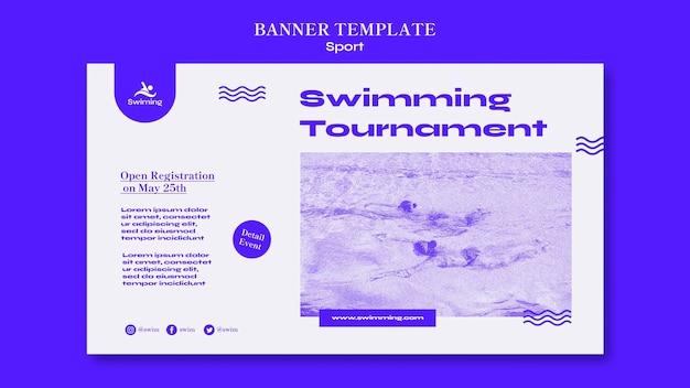 Modelo de banner de torneio de natação