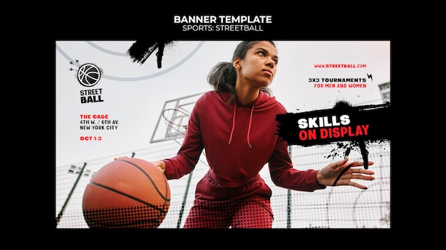 Modelo de banner de torneio de streetball
