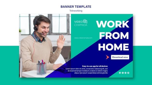 Modelo de banner de trabalho em casa