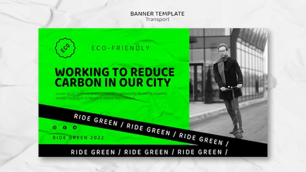Modelo de banner de transporte ecológico