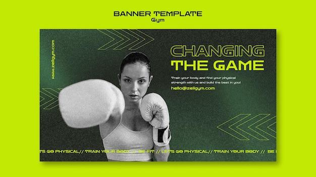 Modelo de banner de treinamento de ginástica