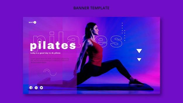 Modelo de banner de treinamento de pilates