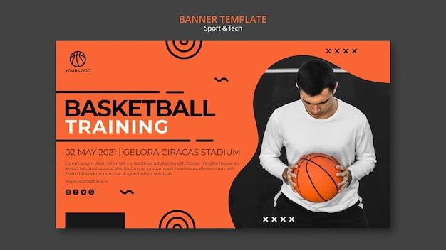 Modelo de banner de treinamento e homem de basquete