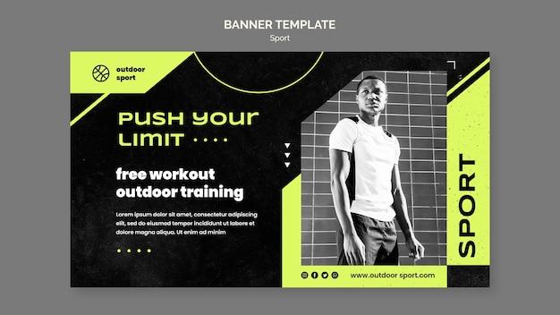 Modelo de banner de treino ao ar livre