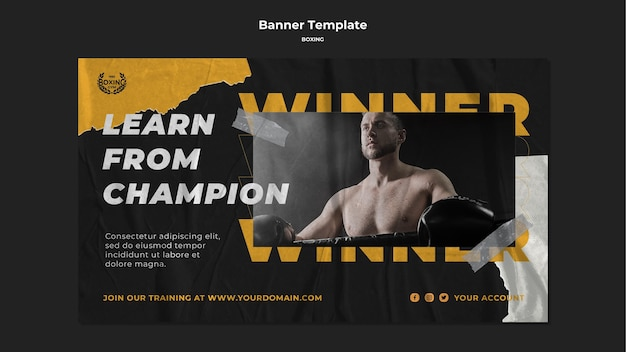 Modelo de banner de treino de boxe