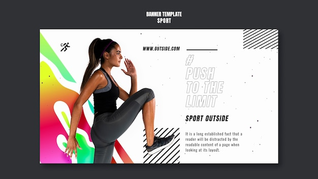 Modelo de banner de treino motivacional