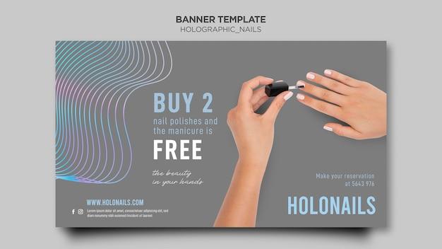 Modelo de banner de unhas holográficas
