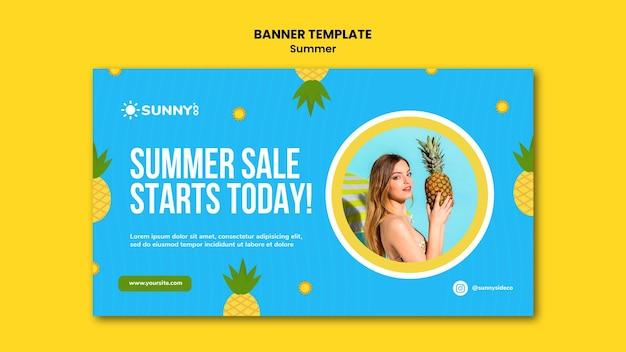 Modelo de banner de venda de verão