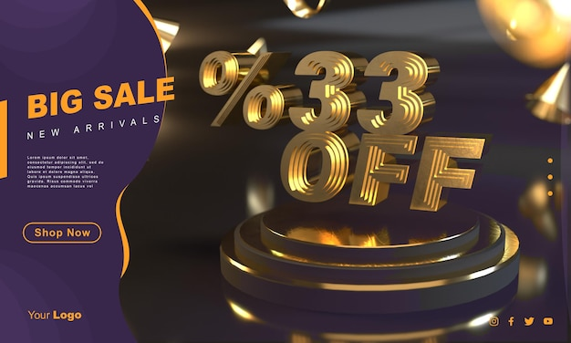 Modelo de banner de venda dourada 33 por cento acima do pedestal dourado com fundo escuro