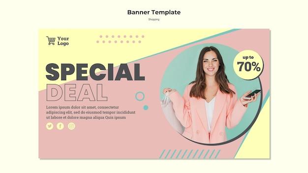 Modelo de banner de venda especial de compras