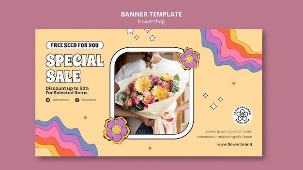 Modelo de banner de venda especial de loja de flores