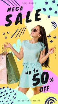 Modelo de banner de venda mega para histórias do instagram