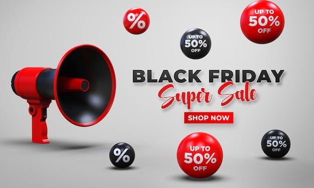 Modelo de banner de venda na sexta-feira negra com megafone