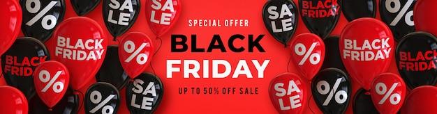 Modelo de banner de venda na sexta-feira preta com balões brilhantes pretos e vermelhos