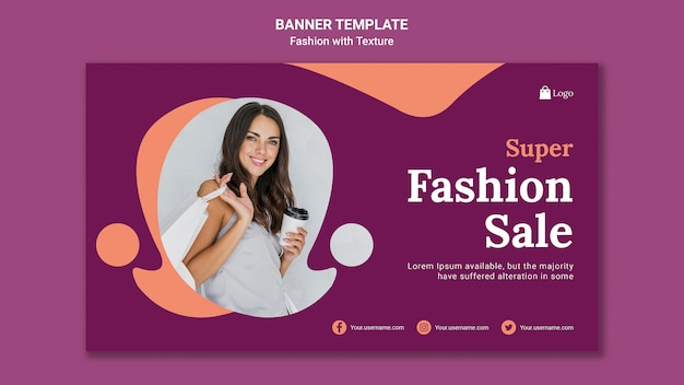 Modelo de banner de venda super fashion