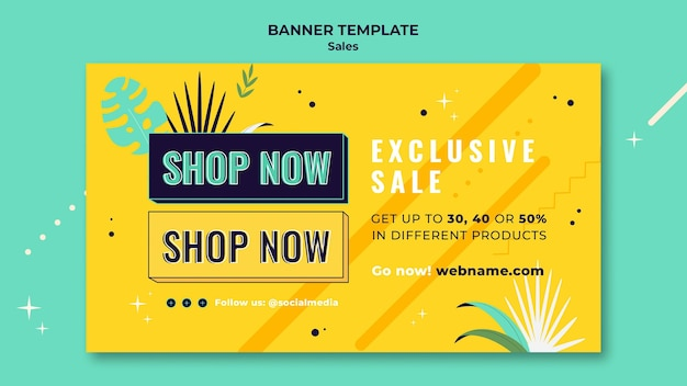 Modelo de banner de vendas com cores brilhantes
