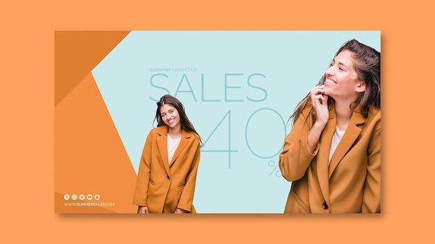 Modelo de banner de vendas com imagem