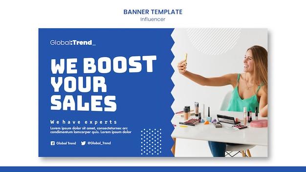 Modelo de banner de vendas de influenciador