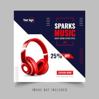 Modelo de banner de vendas de mídia social de fone de ouvido