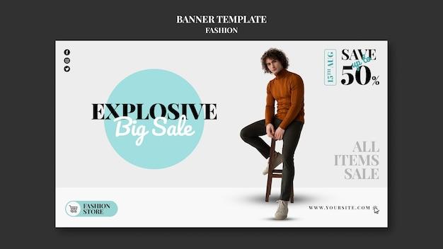 Modelo de banner de vendas de moda