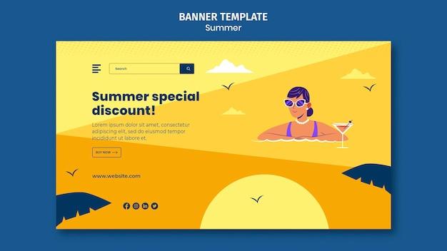 Modelo de banner de vendas de verão