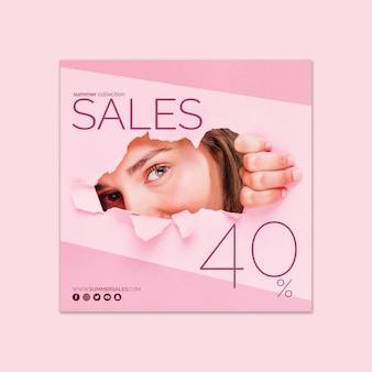 Modelo de banner de vendas quadradas